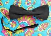 Vintage black pique bow tie narrow slim mens classic formal evening dress CQ